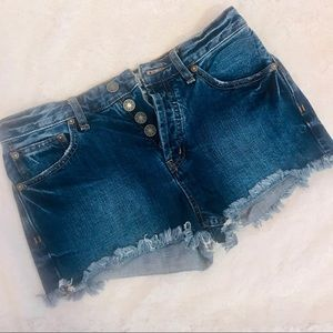 Free People Button Fly Denim Short Shorts